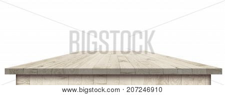 Empty dining table vintage style with clipping path in perspective view for product placement or montage with focus to table. Wooden board surface.