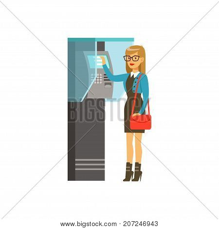 Woman using outdoor Information terminal, people carrying out operations with terminal vector Illustration isolated on a white background