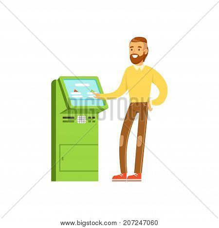 Smiling man using electronic self service payment terminal, people carrying out operations with terminal vector Illustration isolated on a white background