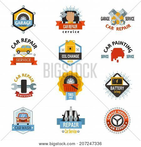 Car repair service logo auto badge emblems mechanic template design automobile vehicle garage concept vector illustration. Auto fix technology transport creative label.