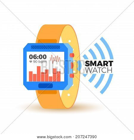 Vector flat illustration of smart electronic watch. Wearable device for health tracking,  lifestyle, fitness activity. Isometric style design concept. Display with numbers, pulse, activity graphs.