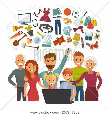 Family with credit card shopping online happy people characters computer buying internet purchase vector illustration. Home payment adult people.