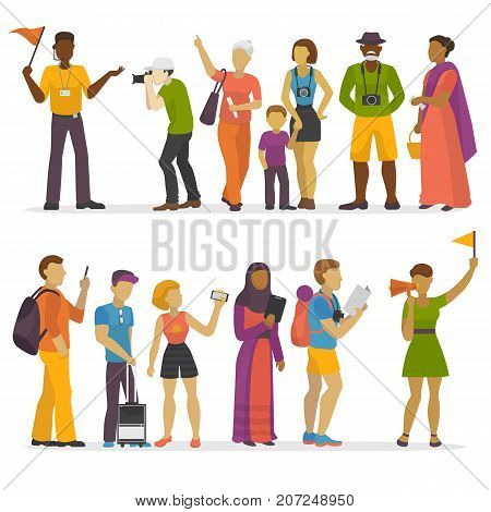 People family traveling on vacation traveler characters happy trip journey couple vector illustration. Vacation travel tourists people groups with guide.