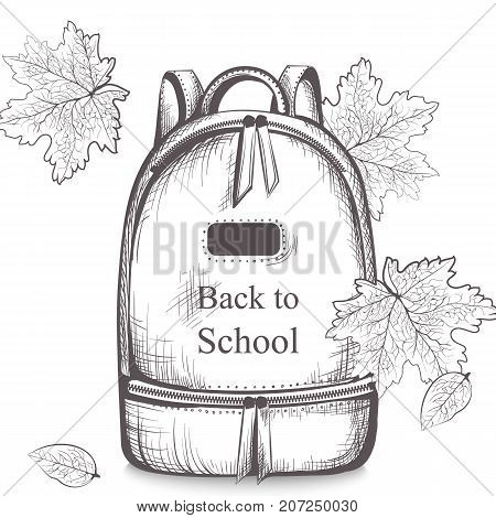 Schoolbag Vector Line Art. Back To School Autumn Backgrounds