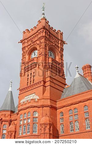Clock tower of the Pierhead building, Cardiff Bay