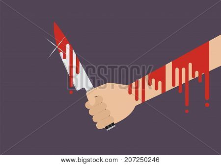 Bloody hand holding a knife. Flat style Vector illustration