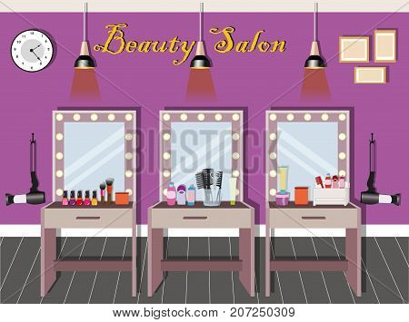 Beauty salon interior design with dressing tables, mirrors with illumination, lamps and cosmetics. Flat style vector illustration.