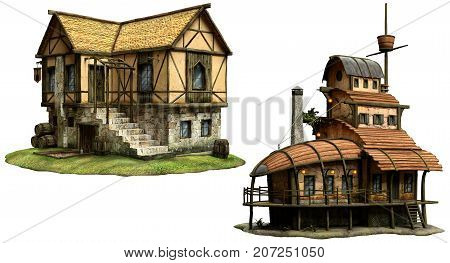 Fantasy or medieval tavern buildings 3D illustration