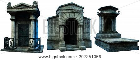 Two crypts and a gravestone  3D illustration