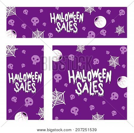 Happy Halloween Sales. The trend calligraphy. Vector illustration with eyes with skull and spiderweb