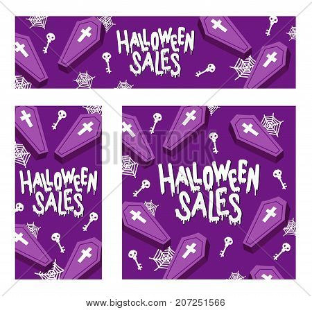 Happy Halloween Sales. The trend calligraphy. Vector illustration with coffin X cross with skull key and spiderweb