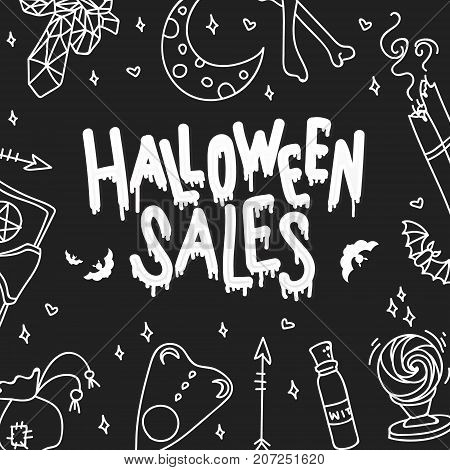 Happy Halloween Sales. The trend calligraphy. Holiday card