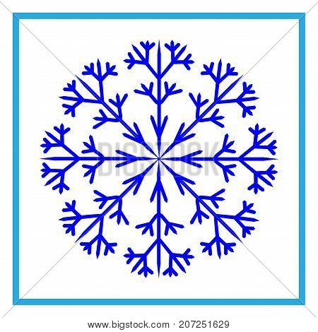 Snowflake sign in frame. Winter design. Image of snow season. Blue ice icon isolated on white background. Cold ornament symbol. Logo for christmas or frozen celebration. Stock vector illustration