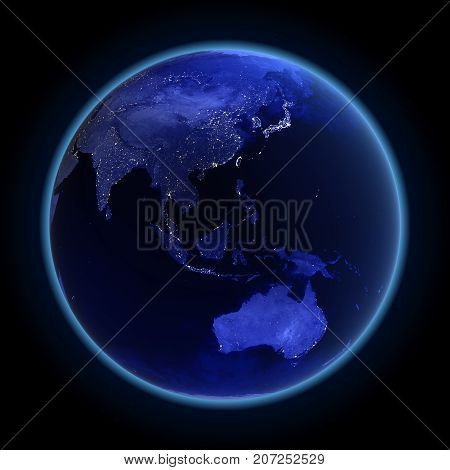 Asia and Australia. Maps from NASA imagery 3d rendering