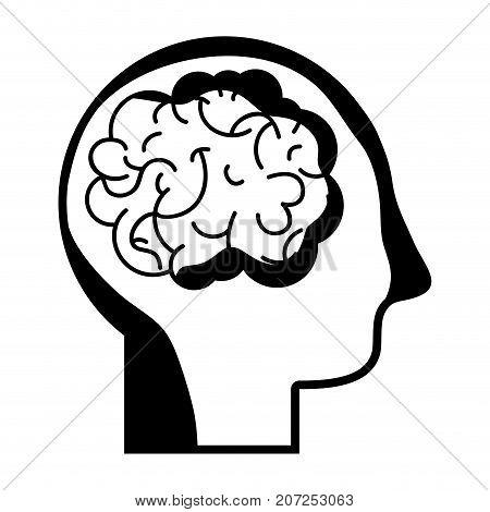 contour man with anatomy brain design vector illustration