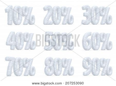 Winter retail sale commercial and business advertisement concept christmas sale discount offer snowy special percent price cut off text collection made of snow isolated 3d illustration set