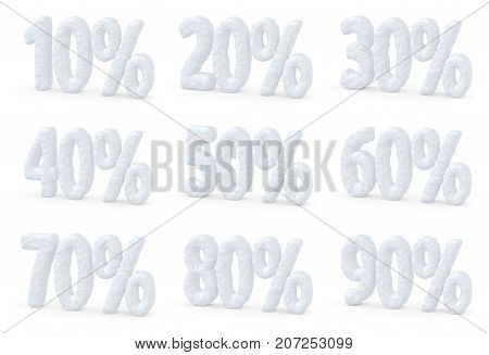 Winter retail sale commercial and business advertisement concept christmas sale discount offer set of snowy percents price cut off text made of snow isolated on white 3d illustration collection