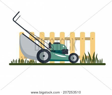 Lawn mower machine icon technology equipment tool, gardening grass-cutter with grass and fence isolated on white background - vector stock ilustration.