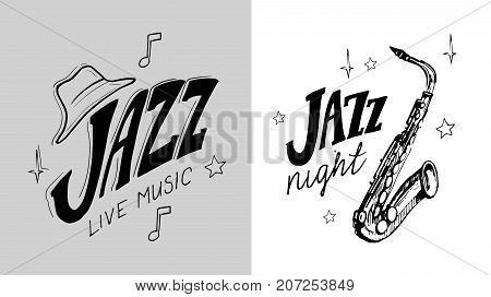 Set of Jazz emblem with a saxophone. Isolated vector illustration. Design element for the create of the label, brochures, posters