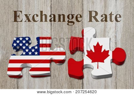 The exchange rate from the US dollar to the Canadian dollar Two puzzle pieces with the flags of USA and Canada on weathered wood with text Exchange Rate 3D Illustration