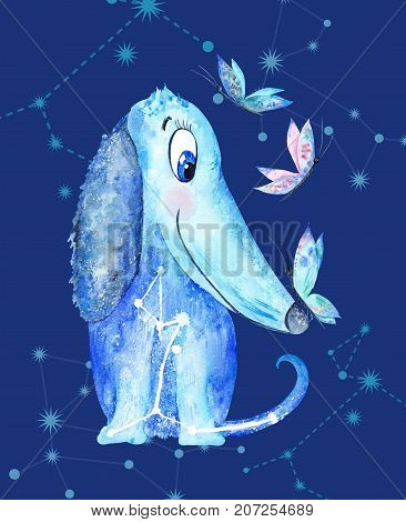 Funny puppy with constellation stars symbol and butterflies in childish cartoon style