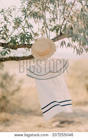 dress with hat on a branch of olive