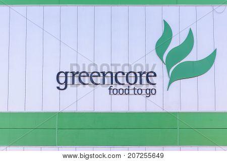 Northampton Uk October 3, 2017: Greencore Food Group Logo Sign On Factory Wall Northampton