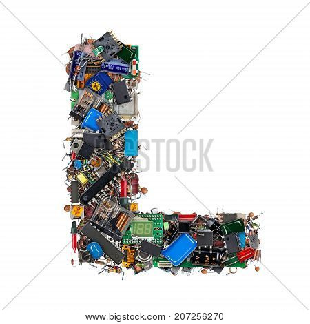 Letter L Made Of Electronic Components