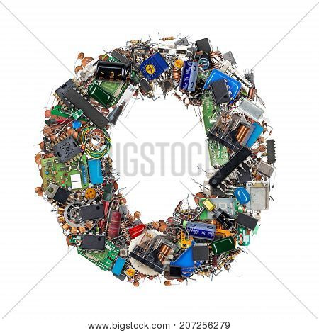 Letter O Made Of Electronic Components