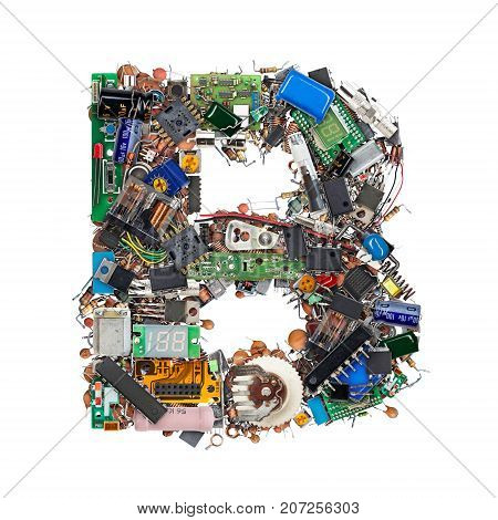 Letter B Made Of Electronic Components