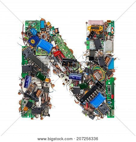 Letter N Made Of Electronic Components