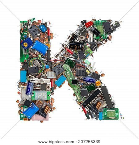 Letter K Made Of Electronic Components