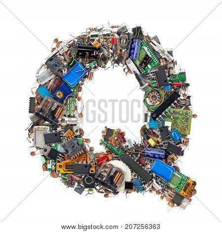 Letter Q Made Of Electronic Components