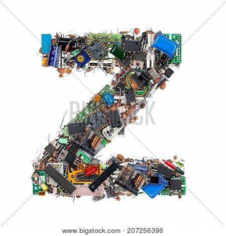 Letter Z Made Of Electronic Components