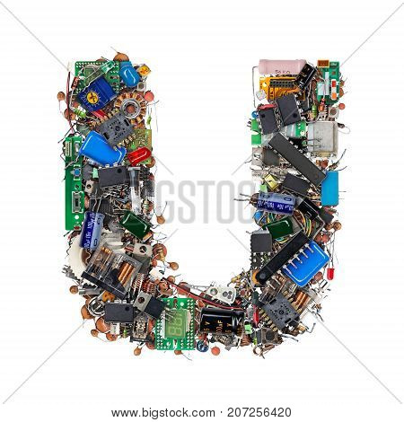 Letter U Made Of Electronic Components