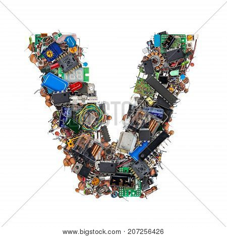 Letter V Made Of Electronic Components