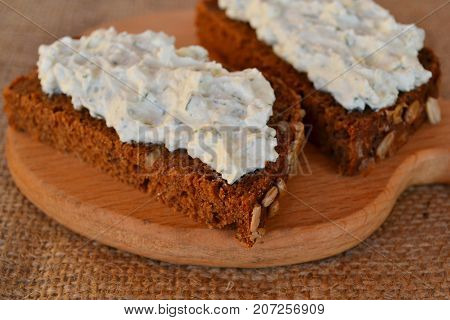 Sandwiches with soft cheese. Homemade snack reciipe