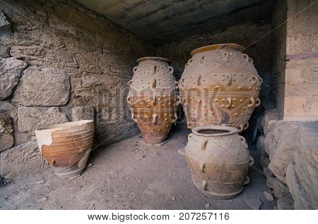 The magazines for food and wine for the minoan royal court at the palace of Knossos, island of Crete