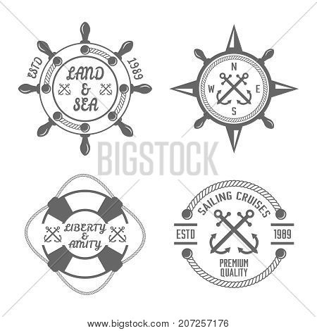 Set of monochrome vector nautical lables on white background