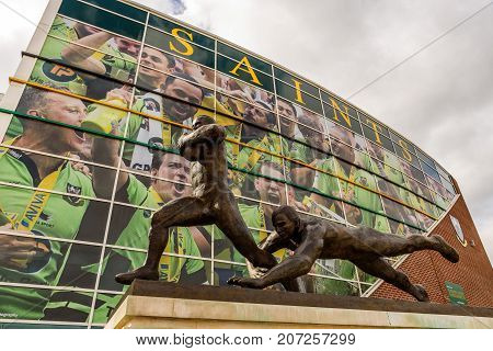 Northampton Uk October 3, 2017: Northampton Saints Rugby Club Monument At Franklin Gardens