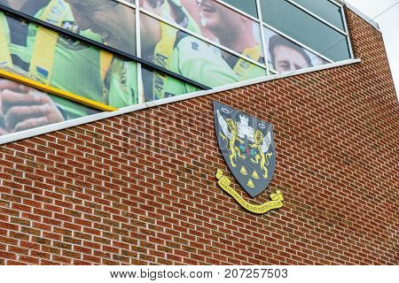 Northampton Uk October 3, 2017: Northampton Saints Rugby Club Logo At Franklin Gardens