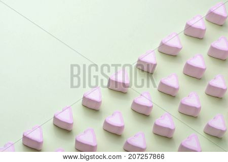 Valentines Day Candy Hearts Marshmallows Over Green Background