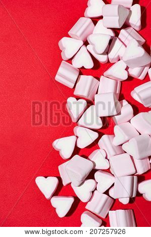 Valentines Day Candy Hearts Marshmallows Over Red Background