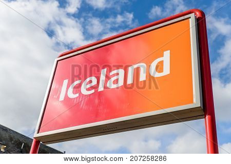 Northampton Uk October 3, 2017: Iceland Logo Sign In Northampton Town Centre