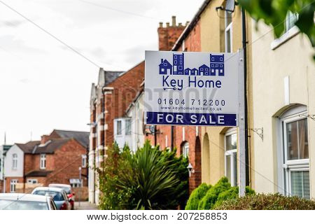 Northampton Uk October 3, 2017: Key Home Estate Agents Banner With Property For Sale Text