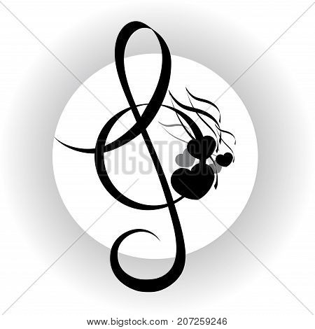Music background treble clef with notes design black and white