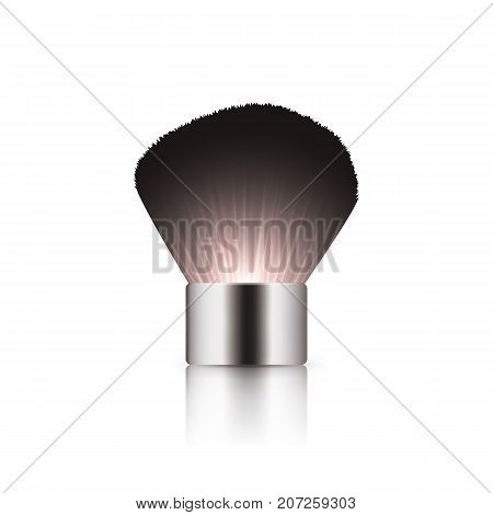 Realistic kabuki black brush with silver cap for makeup of mineral, loose, compact powder, blush. Fashion and beauty professional tool for makeup artist. Vector mockup isolated on white background.