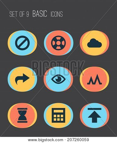 Interface Icons Set. Collection Of Lifebuoy, Sandglass, Forbidden Elements