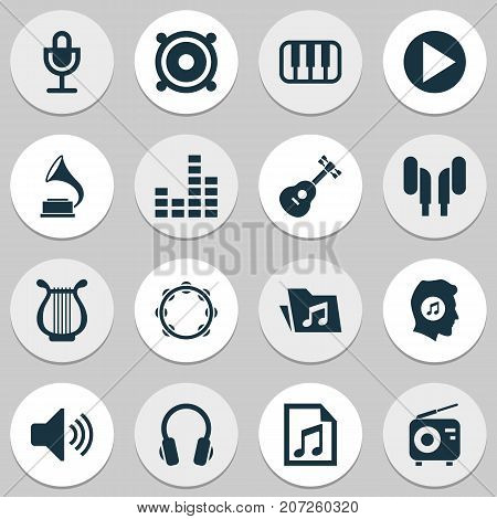 Multimedia Icons Set. Collection Of Phonograph, Earphone, Sound And Other Elements