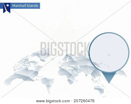 Abstract Rounded World Map With Pinned Detailed Marshall Islands Map.